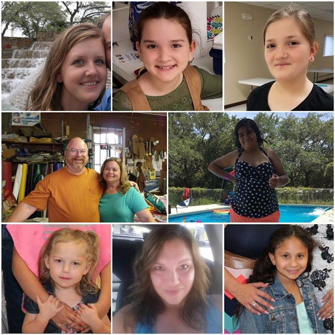 Top row: Crystal Holcombe, Megan Holcombe and Emily Holcombe. Middle row: Bryan and Karla Holcombe, Annabelle Renee Pomeroy. Bottom row: Brooke Ward, Joann Ward and Emily Garza.