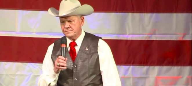 Roy Moore at a Sept. rally for U.S. Senate seat - YOUTUBE SCREENSHOT VIA GOLDEN STATE TIMES