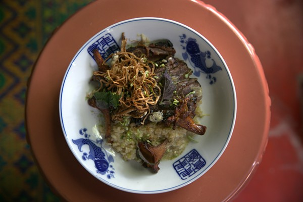 Miso-aged Lone Mountain wagyu, brown rice risotto, roasted mushrooms, sanscho butter / Chad Carey - COURTESY