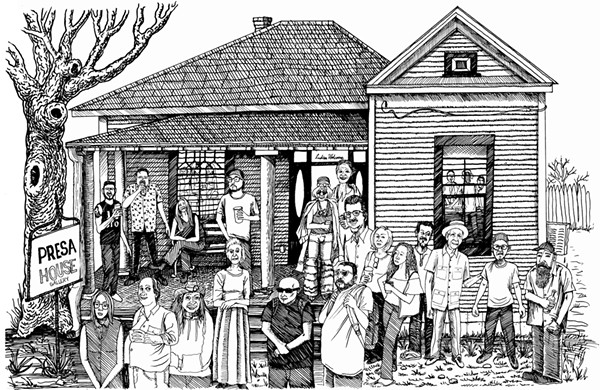 AN ILLUSTRATION OF PRESA HOUSE GALLERY (AND A FEW OF ITS USUAL SUSPECTS) BY ALBERT ALVAREZ