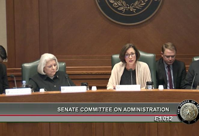 Sen. Zaffirini & Sen. Kolkhurst at Thursday's Senate Committee on Administration hearing. - TEXAS SENATE