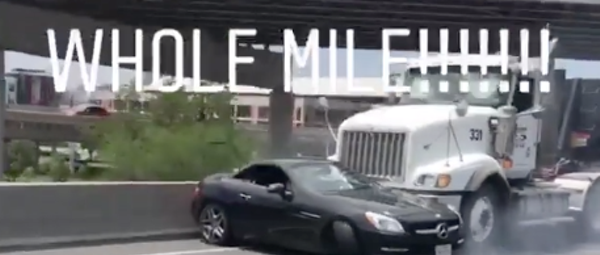 This 18-Wheeler Seriously Pushed a Car on I-35 For a Mile (And It Was Caught On Camera)