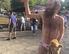 Man Rides Stick Pony, Swings Rubber Chicken in His Underwear at the Alamo