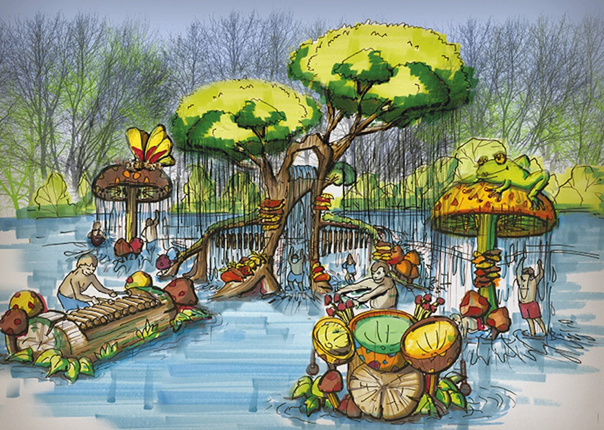 A rendering of one of the park's five splash pads, Calypso Cove.
