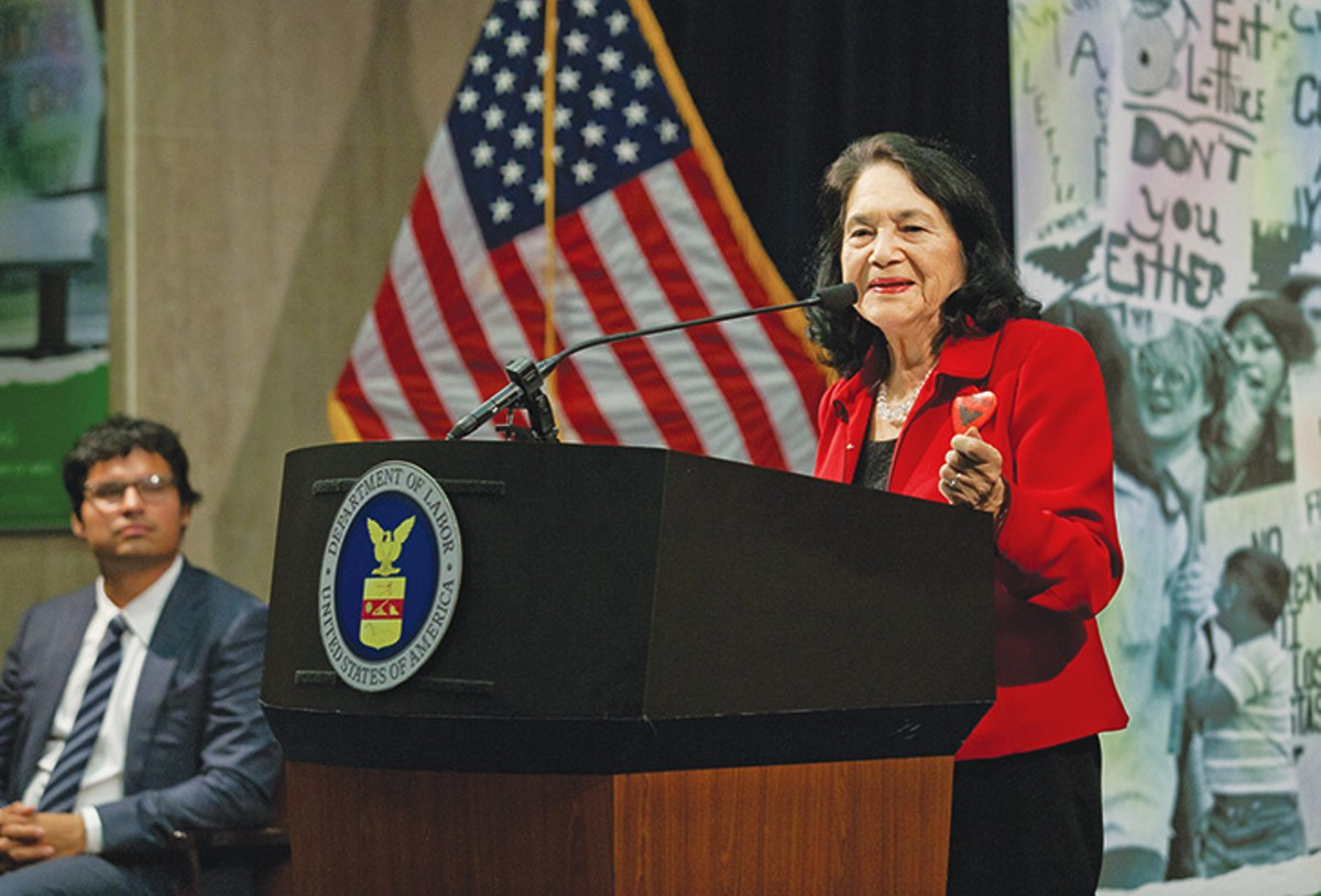 Dolores Huerta speaks at the Department of Labor in 2012, honoring the legacy of César Chávez.