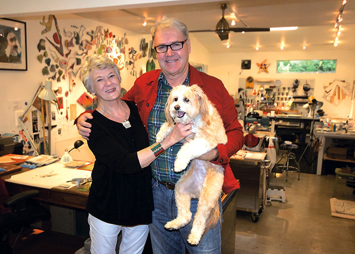 Meredith Dean, Gary Sweeney and Magnet the dog in Dean's home studio