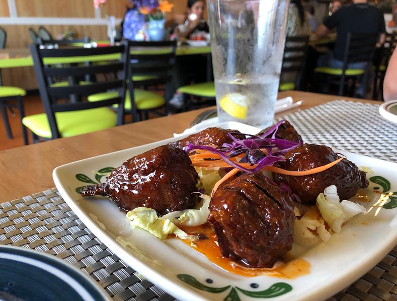 Sweet chili chicken wings from Thai Vegan on Huebner Road. - JESSICA ELIZARRARAS