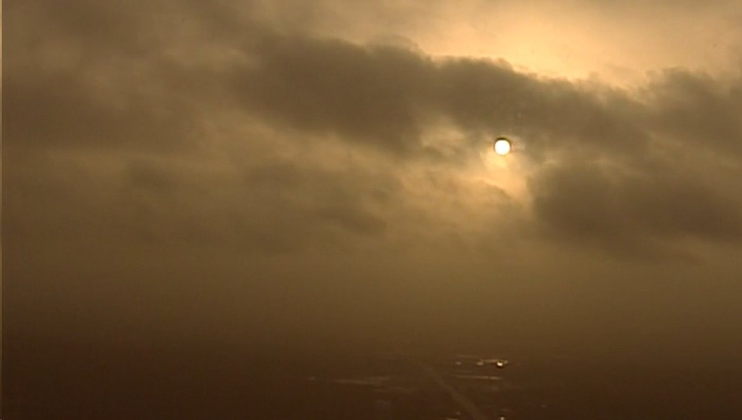 The sun over San Antonio tries to break through the Saharan dust. - VIA KABB FOX 29'S TWITTER