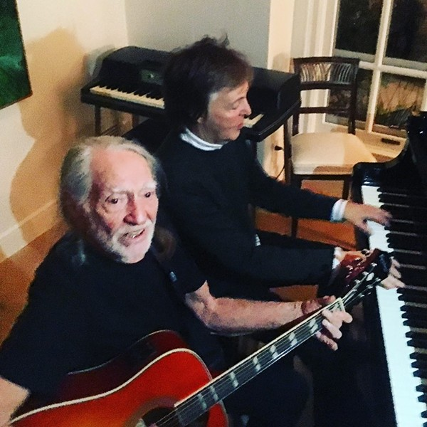 Willie hanging out with yet another pot-smoking leftie, Sir Paul McCartney. - VIA WILLIE NELSON'S FACEBOOK PAGE