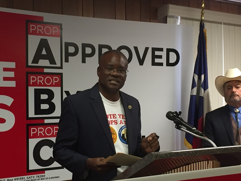 Chris Steele speaks at a press conference held this week to discuss the fire union's three proposed charter amendments. - SANFORD NOWLIN