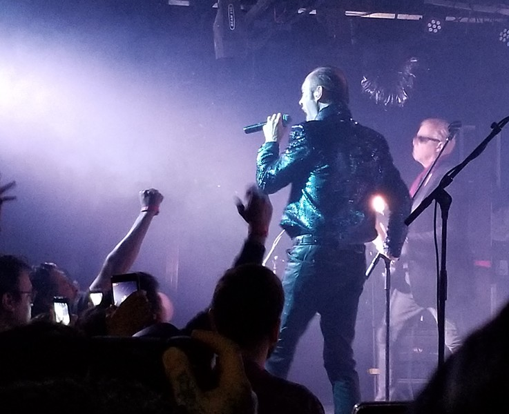 Peter Murphy (foreground) and David J perform onstage Friday night at the Paper Tiger. - VERONICA CAMPBELL