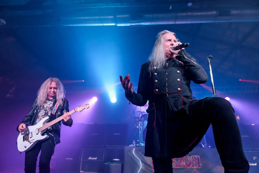 Saxon singer Biff Byford belts it out with guitarist Doug Scarratt chugging along in the background. - JAIME MONZON