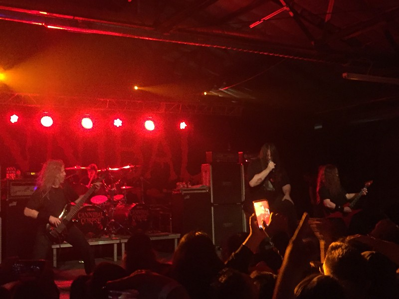"""Cannibal Corpse rips into """"Code of the Slashers"""" last night at VIBES Event Center. - MIKE MCMAHAN"""