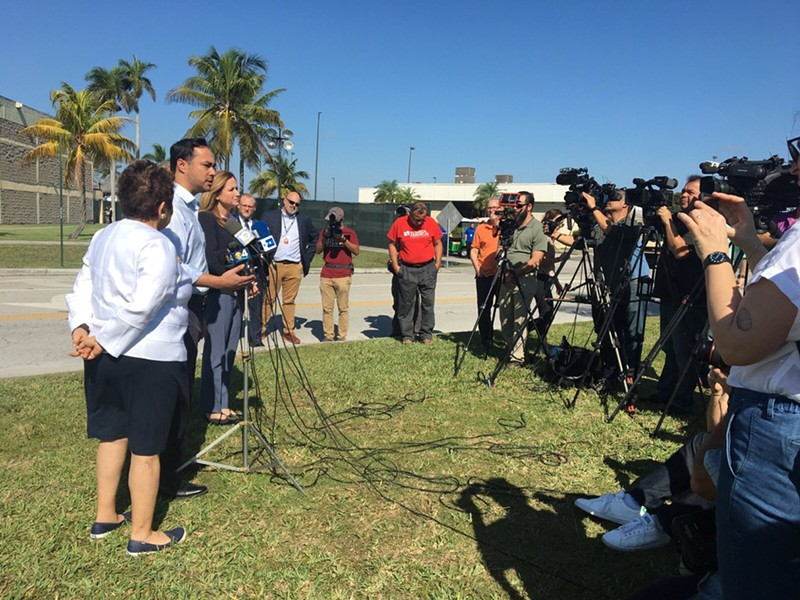 U.S. Rep. Joaquin Castro speaks to the press after a recent tour of an immigrant detention center. - TWITTER / JOAQUINCASTROTX