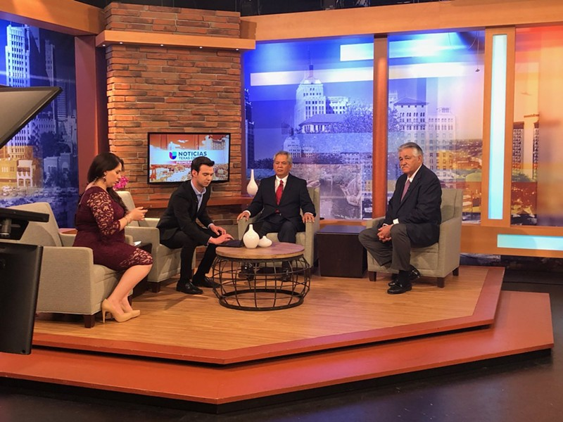 Candidates Ray Lopez (right) and Fred Rangel (center right) appear on a Univision morning program. - TWITTER / RAYLOPEZFORTX