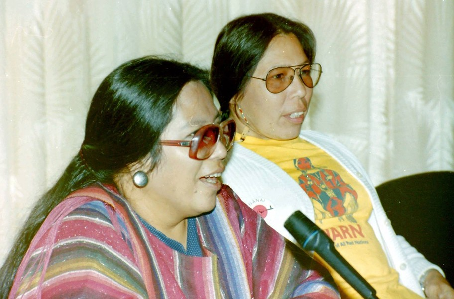 Phyllis Young and Madonna Thunder Hawk in the early 1980s in Rotterdam, The Netherlands. - WARRIORWOMENFILM.COM