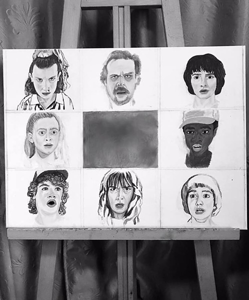 Artist Angela Farrias puts a Brady Bunch spin on the cast of characters from 'Stranger Things' in this piece that will be for sale at Brick. - LA LLORONA FACEBOOK