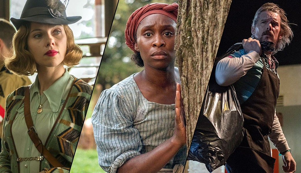 Left to right: scenes from Jojo Rabbit, Harriet and Adopt a Highway - COURTESY FOX SEARCHLIGHT PICTURES, FOCUS FEATURES AND RLJE FILMS