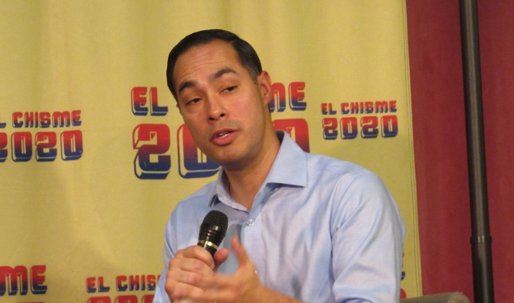 Julián Castro addresses the crowd during a recent San Antonio campaign stop. - SANFORD NOWLIN