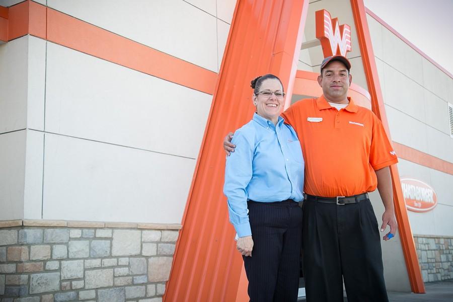 Whataburger manager Andrea Acerra and employee Abraham Belmares - COURTESY PHOTO / WHATABURGER