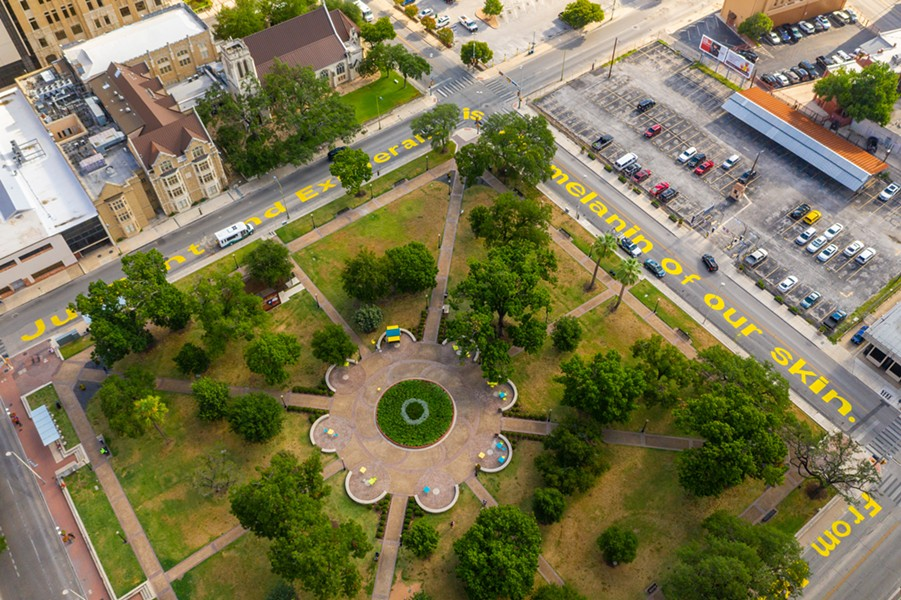 The completed street mural surrounds downtown's Travis Park. - COURTESY PHOTO / CENTRO SAN ANTONIO