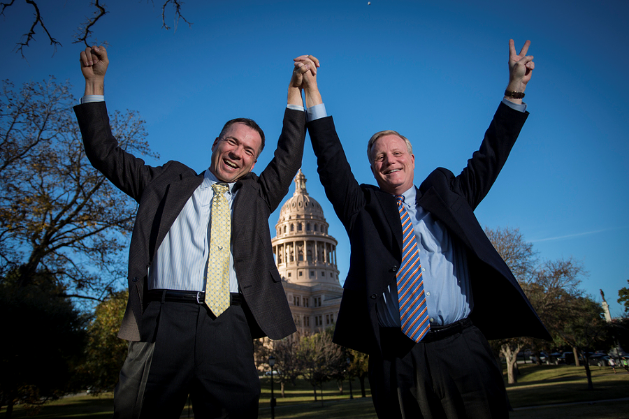 Vic Homes and Mark Phariss were plaintiffs in a lawsuit challenging Texas' same-sex marriage ban. They're getting married in November! - ANDREW SLATON