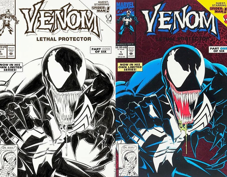 Original artwork and the final product of Venom Lethal Protector (1993) #1, penciled by Mark Bagley and inked by Sam DeLaRosa. - SAN DE LA ROSA