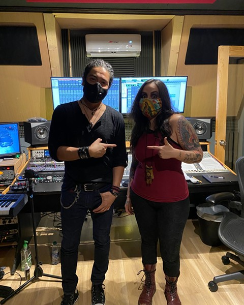 Perez and Diaz pose for a photo in the recording studio. - FACEBOOK / DÍA DE LOS MUERTOS CELEBRATION