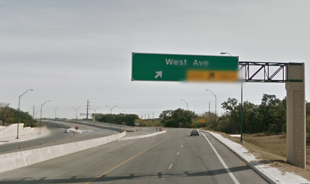 The eastbound lanes of Wurzbach Parkway at West Avenue. - GOOGLE STREETVIEW
