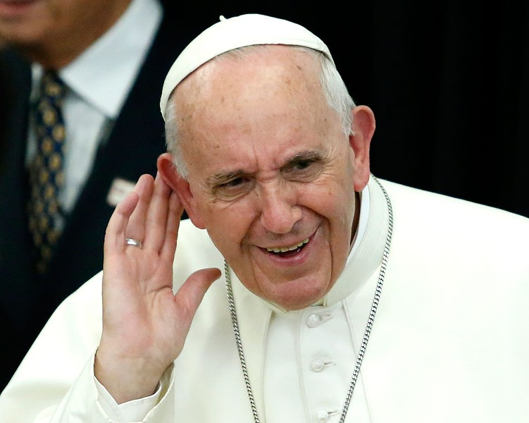 Pope Francis working the crowd - COURTESY