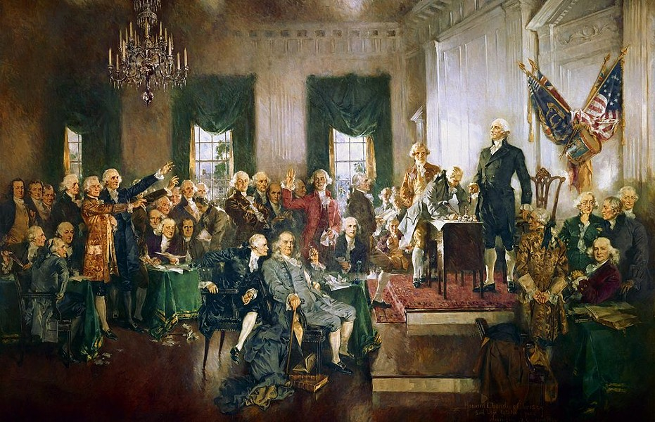 George Washington presides over the historic Constitutional Convention that took place from May 25 to September 17, 1787, in Philadelphia. - HOWARD CHANDLER CHRISTY - THE INDIAN REPORTER (CREATIVE COMMONS)