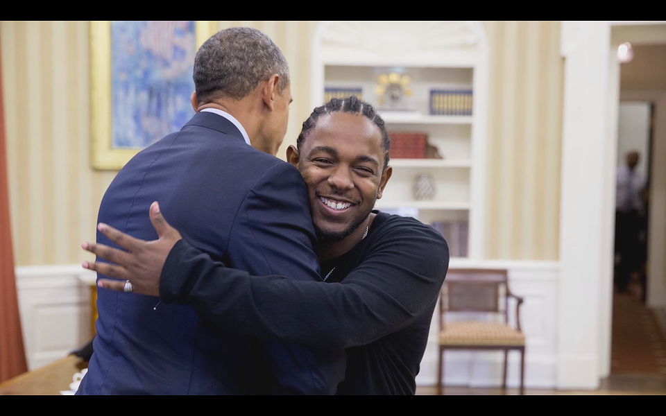 Lamar and Obama exchange thoughts and hugs in the Oval Office - COURTESY OF TOP DAWG ENT.