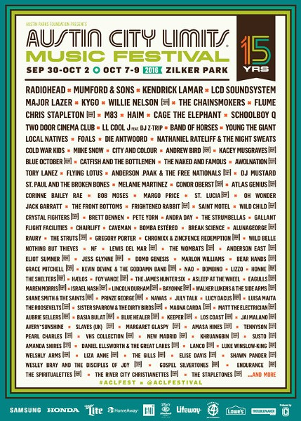 The full lineup for the 2016 Austin City limits Festival. - ACLFEST.COM