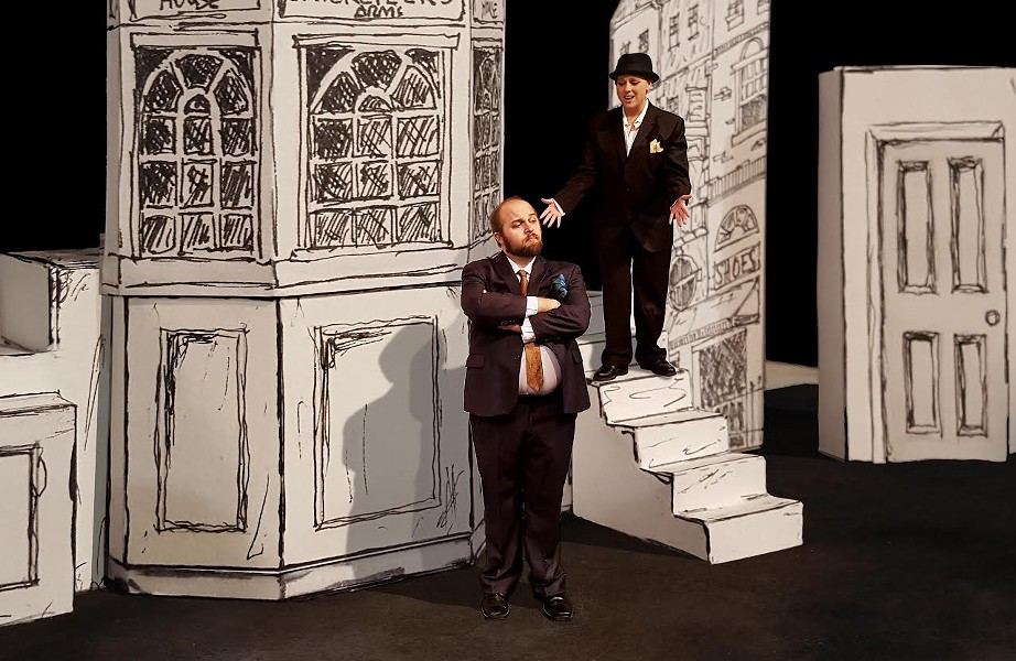 Ben Scharff (as Stanley Stubbers) and Erin Polewski (as  Rachel/Roscoe Crabbe) in the Vex's production of One Man, Two Guvnors - PHOTO BY DAVID NOBLES