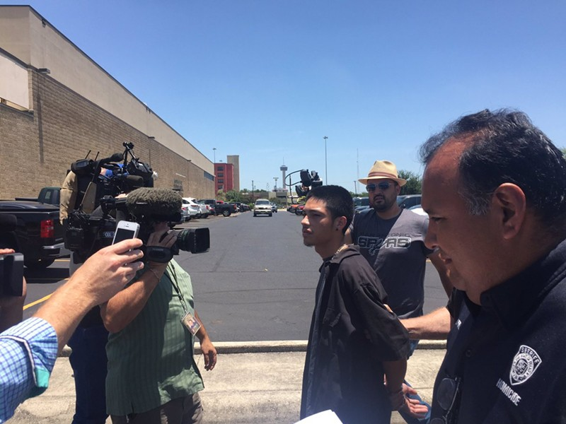 Teenage murder suspect Jonathan Moreno,19, is paraded before media. - BEXAR COUNTY SHERIFF'S OFFICE