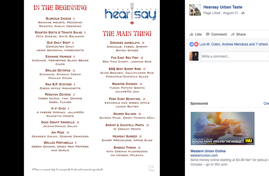 The original preview of the menu -  FACEBOOK/HEARSAY