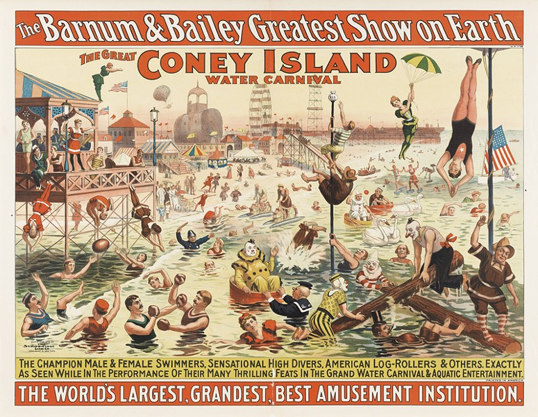 STROBRIDGE LITHOGRAPHING COMPANY, THE BARNUM & BAILEY GREATEST SHOW ON EARTH / THE GREAT CONEY ISLAND WATER CARNIVAL / REMARKABLE HEAD-FOREMOST DIVES FROM ENORMOUS HEIGHTS INTO SHALLOW DEPTHS OF WATER, C. 1898