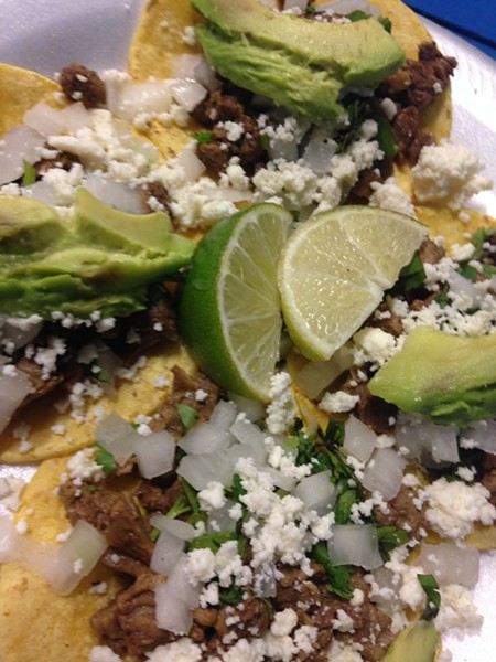 Mini tacos from El Regio - CHARLIE SMITH