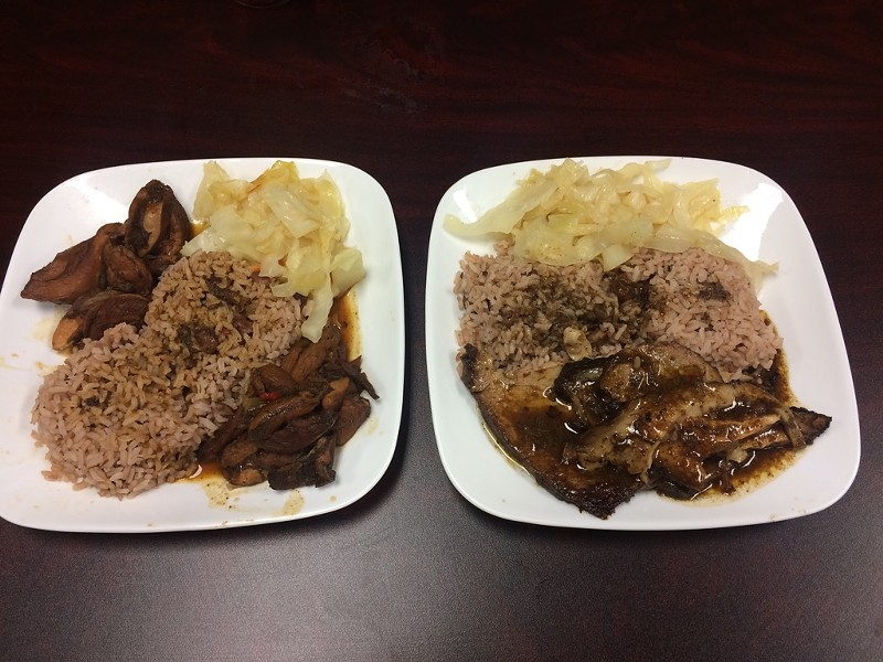 L-R: Jerk chicken with steamed cabbage, rice and peas, and roasted pork.