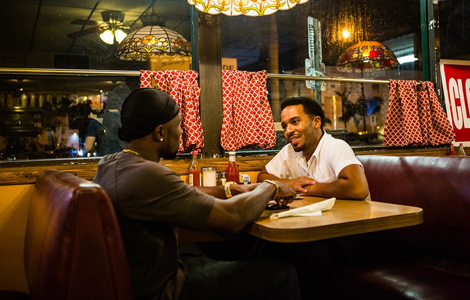 MOONLIGHT CO-STARS TREVANTE RHODES AND ANDRE HOLLAND PHOTOGRAPHED BY DAVID BORNFRIEND, COURTESY OF A24
