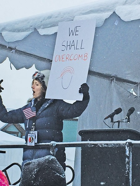 A demonstrator photographed at Sundance by writer Scott Renshaw