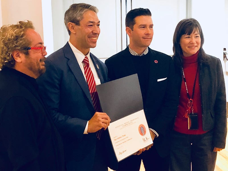 (L-R) Henry Brun, San Antonio Arts Commission music committee chair and local musician; San Antonio Mayor Ron Nirenberg; Brendon Anthony, Texas Music Office director; and Debbie Racca-Sittre, Department of Arts & Culture director. - CHRIS CONDE