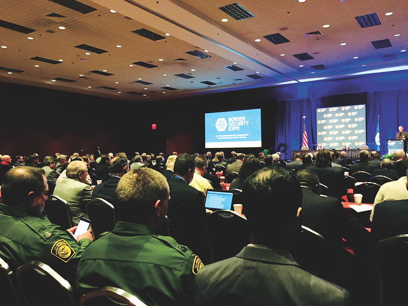Attendees listen to a panel discussion at the 2018 national Border Security Expo. - DEBBIE NATHAN