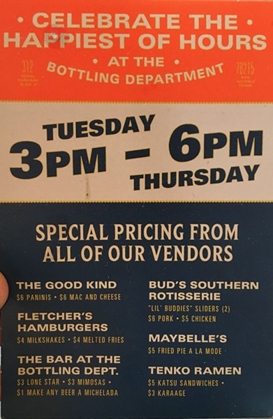 All the deals during happy hour! - ERIN W.