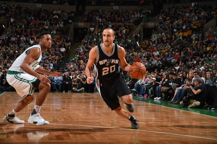 Spurs veteran Manu Ginobili in motion. - NBAE/GETTY IMAGES