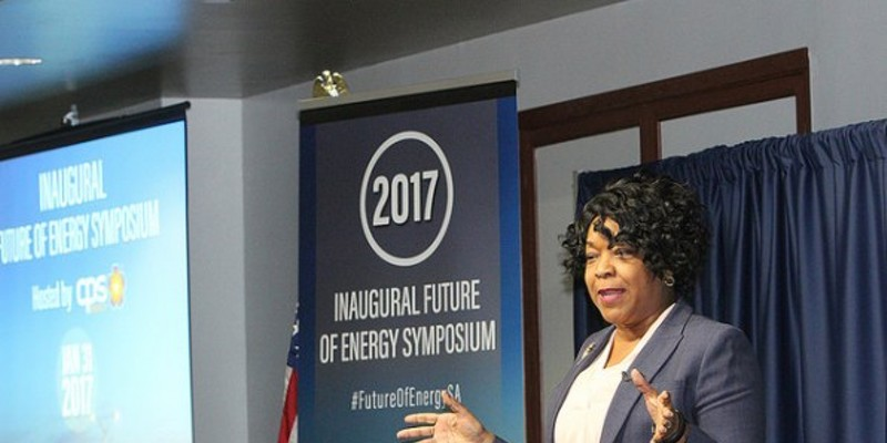 CPS Energy CEO Paula Gold Williams speaks during an energy symposium.
