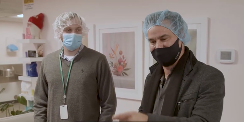 State Sen. Roland Gutierrez (right) tours a marijuana products facility in Colorado in his new, self-financed documentary.