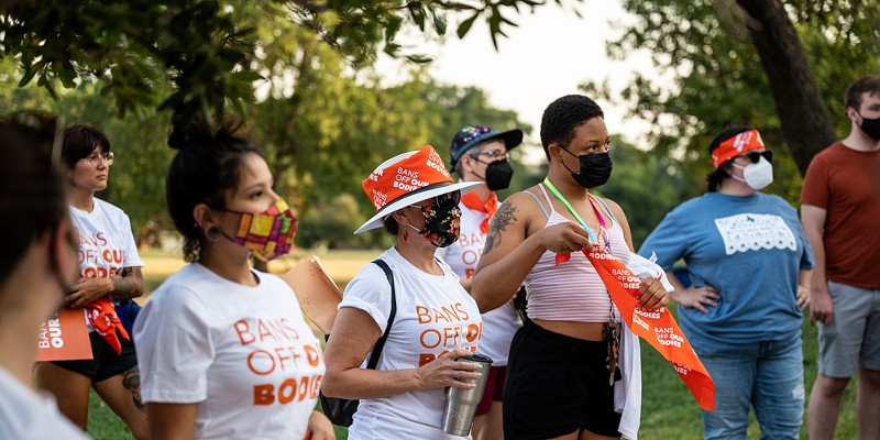 Women attend a San Antonio rally earlier this month against Texas' new abortion law.