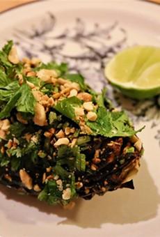 Charred cabbage with salsa macha.