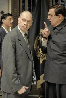 Steve Buscemi, left, as Nikita Khrushchev and Jeffrey Tambor as Georgy Malenkov